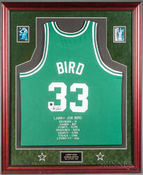 Framed Signed Larry Bird Jersey