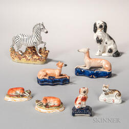 Eight Staffordshire Animals
