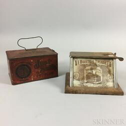 "Charles Odence ""Boston Trade"" Tin and Glass Cigar Cutter and a ""Just Suits Cut Plug"" Tin.     Estimate $200-300"