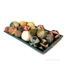 Large Blue-painted Maple Tray and a Group of Fabric Balls