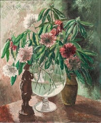 Angelina Vannini Stevens (Italian/American, b. 1898)      Still Life with Figurine and Flowers