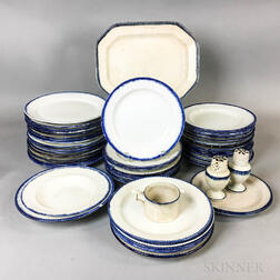 Fifty-two Leeds Blue-rimmed Ceramic Items