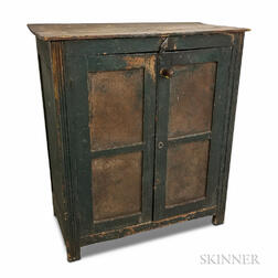 Green-painted Wood and Pierced Tin Pie Safe