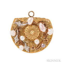 Edwardian Gold and Diamond Hat Pendant/Brooch