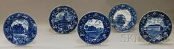 Five Blue Transfer-decorated Pottery Dinner Plates with Massachusetts Views
