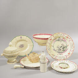 Ten Creamware Tableware Items