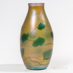 "Tiffany Studios Gold Favrile ""Heart and Vine"" Vase"