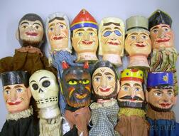 Group of Polychrome Painted Wood Punch and Judy Puppets