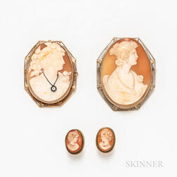 Two 14kt Gold Cameo Brooches and a Pair of Cameo Earclips