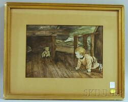 Framed Watercolor of a Boy and His Teddy Bear