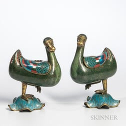 Pair of Cloisonne Duck-form Censers