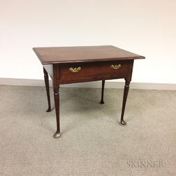 Queen Anne-style Stained Maple One-drawer Tavern Table