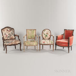 Four French Upholstered Armchairs