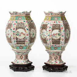 Pair of Famille Rose Porcelain Lanterns