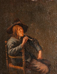 School of Jan Steen (Dutch, 1626-1679)      Man Seated in a Caned Chair Smoking a Pipe