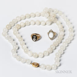 Moonstone Bead Necklace and Two 14kt Gold Moonstone Cameo Rings