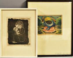 Two Framed 20th Century Prints Depicting Children:      Jean Charlot (French/American, 1898-1979), Mexican Child with Toy