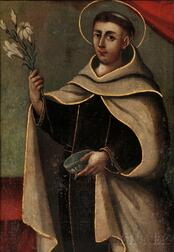 Spanish Colonial School, 19th Century    Saint Holding Lilies and a Bowl