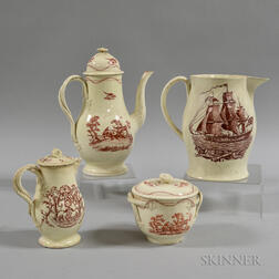 Four Red Transfer-decorated Creamware Items