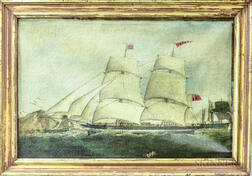 Anglo/American School, 19th Century       Maritime Scene with a Sidewheeler.