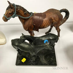 Polychrome Cast Iron Horse Doorstop, a Cast Iron Ship Doorstop, and a German White Metal Sculpture Depicting Two Horses