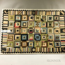 Framed Log Cabin and Pieced Cotton Baby Blocks Quilt
