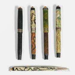 Five Parker Duofold Ring-top Pens