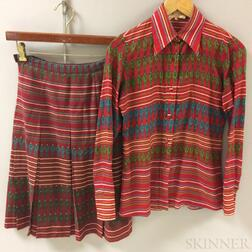 Vintage Gucci Red Patterned Silk Shirt with Matching Skirt