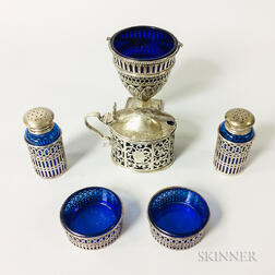 Six Pieces of Sterling Silver and Cobalt Glass Tableware