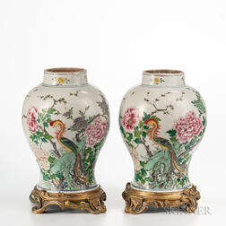 Pair of Enameled Porcelain Jars