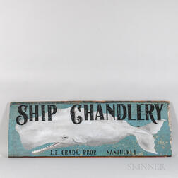 "Painted Wood ""Ship Chandlery"" Sign"