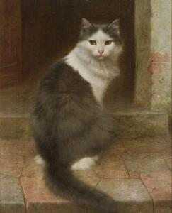 Wilhelm Schwar (German, 1860-1943)  On the Stoop, Gray and White Cat