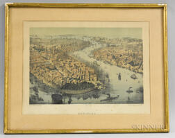 Framed German Franz Wentzel Hand-colored Lithograph of New York Harbor