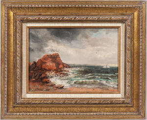 American School, 19th/20th Century      Rocky Point with Sailboats