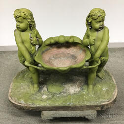 Green-painted Metal Garden Statue with Two Putti