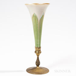 Tiffany Studios Pulled Feather Vase in Bronze Dore Mount