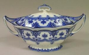 F. & Sons Flow Blue Dudley Pattern Covered Tureen.