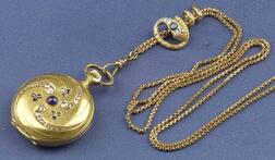 Antique 18kt Gold Hunting Case Pocket Watch and Slide Chain, France