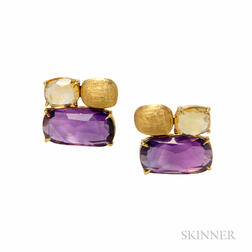 18kt Gold Gem-set Earrings, Marco Bicego