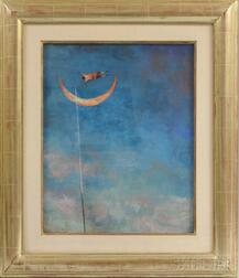 Brad Holland (American, b. 1944)    Man Jumping over the Crescent Moon