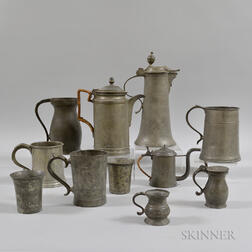 Eleven Pewter Vessels