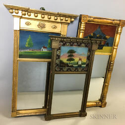 Three Federal Reverse-painted Tabernacle Mirrors