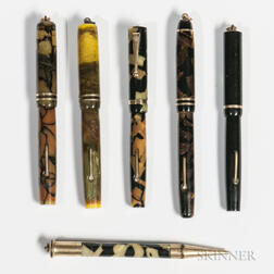 Five Moore Fountain Pens and a Pencil