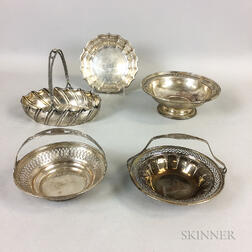 Four Sterling Silver Dishes and a German .800 Silver Handled Basket