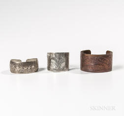 Two Northwest Coast Bracelets and a Silver Ring