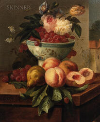 Jules Edouard Diart (French, 1840-1890)      Still Life with Fruit and Flowers