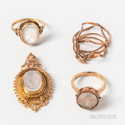 14kt Gold and Carved Moonstone Pendant and Three Gold Rings