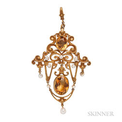 14kt Gold and Citrine Pendant/Brooch