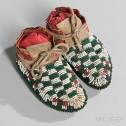 Lakota Fully Beaded Infant's Moccasins
