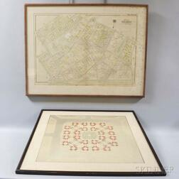 Framed Map of Brookline and a Floor Plan of a Greek Building.     Estimate $200-400